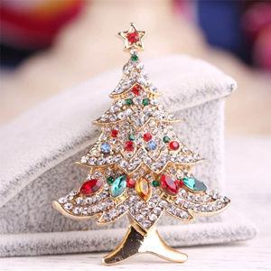 Gold Tone Christmas Tree Pin Brooch w/ Rhinestones